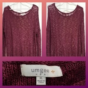 Umgee XL Plum Sweater Tunic Fringe Hem Scoop Neck
